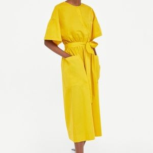 NWT Zara yellow Midi dress with side pockets
